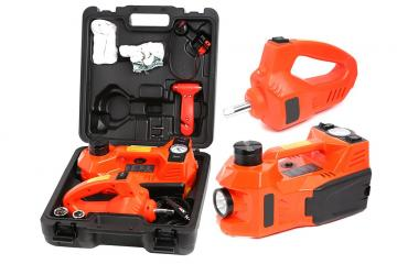 Multi-function Car Repair Set-Hydraulic Floor Jack/Tire Inflator Gauge/Work Light & Impact Wrench